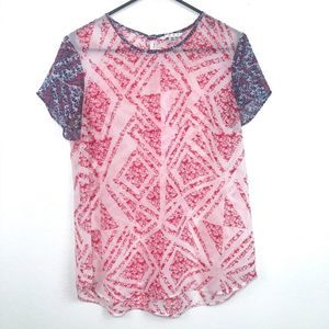 Cabi Sheer Tee Red White and Blue M